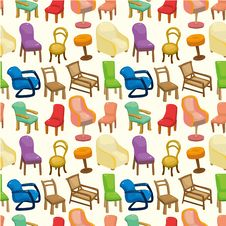 Free Chair Furniture Seamless Pattern Royalty Free Stock Image - 20619906