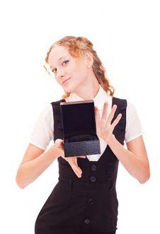 Girl Holding Black Box Royalty Free Stock Image