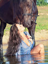 Free Kiss Of Pretty Girl To Yours  Horse Royalty Free Stock Images - 20628929