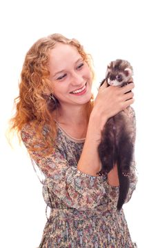 Free Girl With The Ferret Stock Images - 20620074