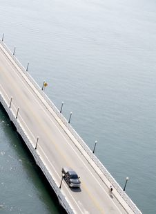Free Truck And Bike On Bridge Over Water Royalty Free Stock Images - 20620139