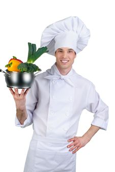 Free Cook Holding Pan With Vegetables Stock Photo - 20623870