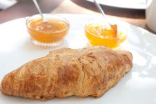 Free Large Croissant On A Plate With A Portion Of Jam Royalty Free Stock Images - 20624089
