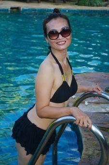Woman In Black Bikini Stock Images