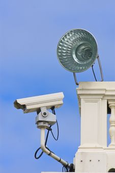Surveillance Camera On Building,sun And Sky Blue Stock Photography