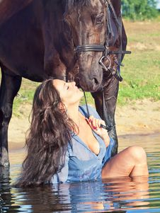 Kiss Of Pretty Girl To Yours  Horse Royalty Free Stock Images
