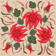 Red Flowers On A Beige Background Stock Image