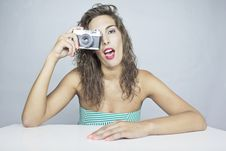 Free Woman Whit Old Camera Royalty Free Stock Images - 20629939