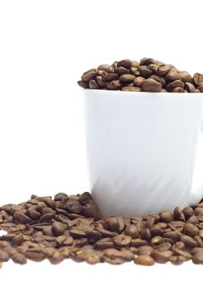 Free Coffee Beans In A Cup Isolated On White Stock Images - 20629994