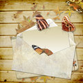 Free Wooden Background With Butterflies And Envelope Wi Royalty Free Stock Photo - 20630275