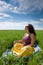 Free Pregnant Woman On Green Grass Field Under Blue Sky Royalty Free Stock Photos - 20638538