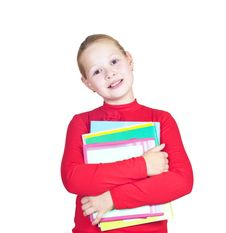Free Child With A Stack Of Notebooks Stock Photos - 20630103