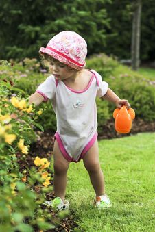 Free Little Baby Is Gardening Stock Image - 20630581