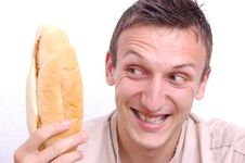 Free Young Man Looking At Sandwich Stock Images - 20630714