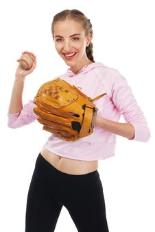 Free Beautiful Woman With Baseball Equipment Royalty Free Stock Image - 20635046