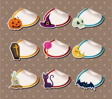 Cartoon Halloween Sticker Label Royalty Free Stock Photos