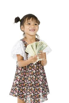 Free Cute Girl With Us Dollars Stock Image - 20635241