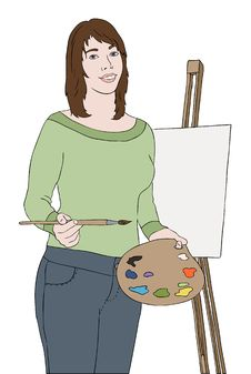 Young Artist Girl Near Easel Royalty Free Stock Image