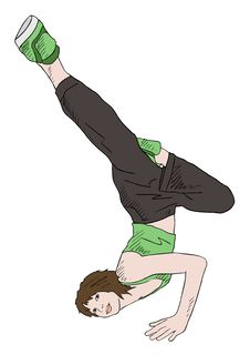 Free Girl In Green Shirt In Breakdance Pose Royalty Free Stock Image - 20635386