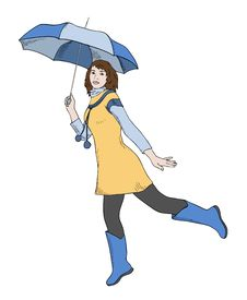 Girl With Umbrella Jumping Stock Image
