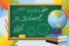 Free School Background With Symbols On Blackboard Royalty Free Stock Photo - 20635405