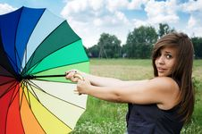 Free Girl With An Umbrella Royalty Free Stock Image - 20637876
