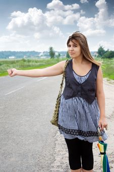 Free Hitchhiking Girl Royalty Free Stock Images - 20637909