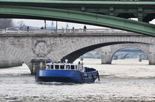 Police Boat On The River Seine, Paris Royalty Free Stock Photography
