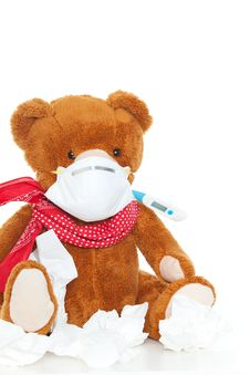 Free Bear With Tissue And Thermometer Royalty Free Stock Photos - 20638188