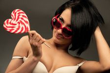 Free Woman With Heart Shaped Lollipop Stock Images - 20639724