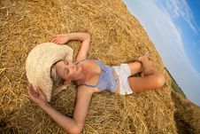 Free Woman Relaxing In Hay Stack Stock Images - 20639744