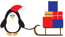 Penguin With Presents Royalty Free Stock Photography