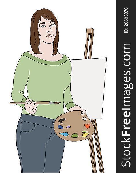 Young artist girl near easel
