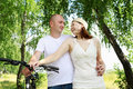 Free Young Couple On The Bikes In The Park Royalty Free Stock Photos - 20643748