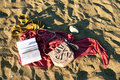 Free Sandals, Book And Pareos On The Sand Stock Photography - 20644022