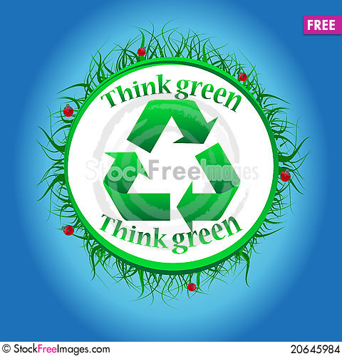 Free Vector Green Think Green Label Stock Images - 20645984