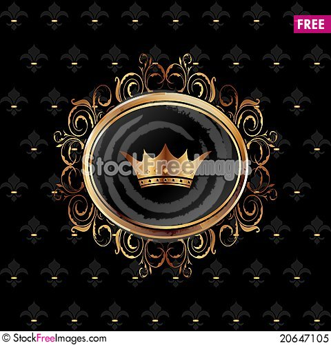 Free Vintage Background With Floral Frame And Crown Royalty Free Stock Photo - 20647105