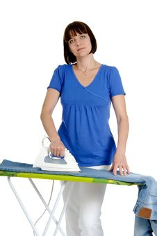 Free Woman Ironing Trousers Royalty Free Stock Photography - 20640647