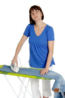Free Woman Ironing Trousers Stock Images - 20640674