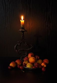 Free Fruits And A Candle Stock Photography - 20640842