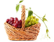 Free Wicker Basket With Grapes Stock Photography - 20640862