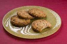 Free Chocolate Cookies On A Plate Stock Photos - 20643783