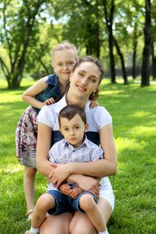 Mother With Dausghter And Son Stock Photo