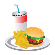 Burger And Chips And Drink Royalty Free Stock Photography