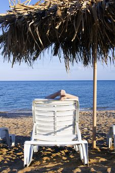 Free Young Woman Lying In The Deck-chair Stock Photography - 20644042