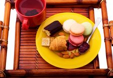 Free Morning Breakfast On The Wooden Tray Royalty Free Stock Photography - 20644047