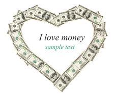 Free Isolated Money Frame As Heart Stock Photography - 20644552