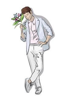 Free Man With A Bouquet Of Flowers Royalty Free Stock Photo - 20644805