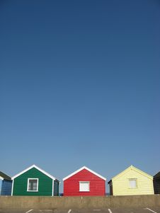 Free Cheerful Beach Huts On An English Beach Royalty Free Stock Photography - 20644817