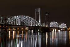 Finnish Bridge At Night Royalty Free Stock Photo